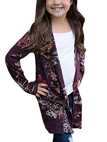 KunLunMen Girls Clothes Fall Cardigans Casual Cute Floral Outerwear Tops (Girls Cardigan Long)