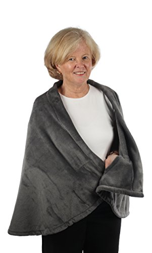 Granny Jo Products – Warm Fleece Cape – Warm Fleece – Fleece with Pockets (Grey L/XL) (Xl Cape)