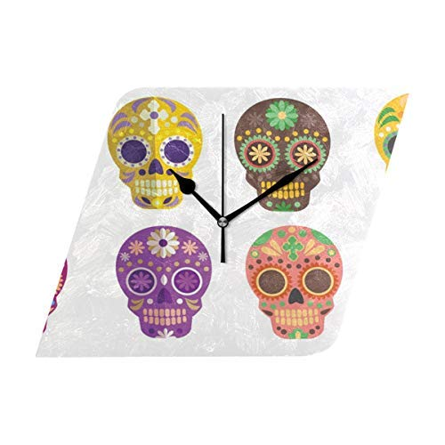 Dozili Skull Round Wall Clock Arabic Numerals Design Non Ticking Wall Clock Large for Bedrooms,Living Room,Bathroom (Design Room Pbteen)