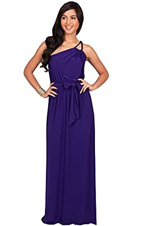 Koh Koh Petite Womens Long Sleeveless One Shoulder Evening Formal Bridesmaids Wedding Party Summer Jersey Cute Maternity Gown Gowns Maxi Dress Dresses For Women, Indigo Blue Purple S 4-6 (1)