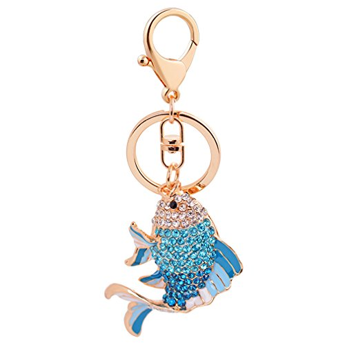 Cute Goldfish Crystal Keychain Animal Keyring Car& Bag Accessory Free with Gift Bag (blue) (Swarovski Crystal Keychain Ring Key)