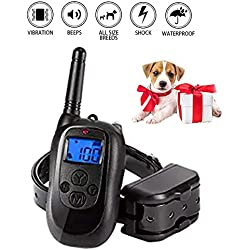 HomVent Training Dog Collar,Completely Rechargeable Remote and Collar - 3 Different Modes (Light Shock, Vibrate, or Tone) - Fits Large & Small Dogs