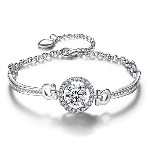 Y&M Bridal Jewelry Sets Necklaces Earrings CZ Cuff Bangle Crystal Stud Earring Diamond Ring 4 PCS for Women Girls - Stud Bangle