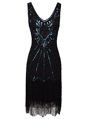 FAIRY COUPLE 1920s Sequined Short Flapper Party Dress Double Layer Tassels Hem Cocktail D20S020(XL,Black) by FAIRY COUPLE