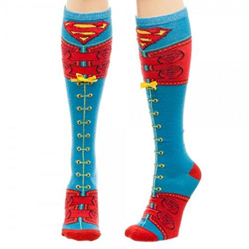 Adult size DC Comics Superman Suit Up Faux Lace Up Knee High Socks -