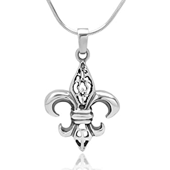 Amazon 925 sterling silver filigree fleur de lis pendant 925 sterling silver filigree fleur de lis pendant necklace 18 inch snake chain aloadofball