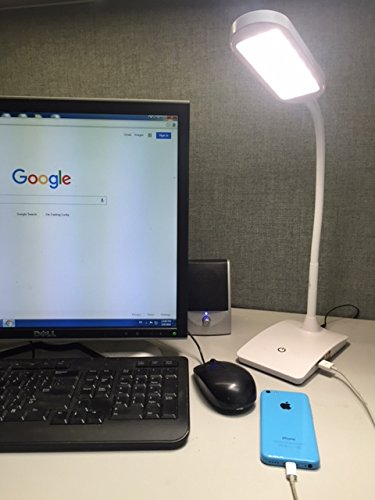 LED Dimmable Desk Lamp with USB Charging Port and 3-Step Push Button Dimmer for up to 7W and 500 Lumens of Bright White (Ivy Dimmer)
