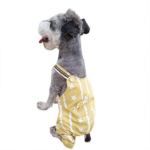 OUBAO Dog Dresses for Puppy Apparel Pet Costumes New Pet Dog Spring and Summer Breathable Cute Star Printed Pet Dog Clothes Yellow