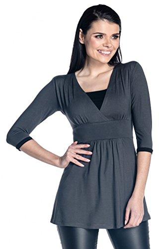 Zeta Ville - Premamá top de lactancia detalles de contraste - para mujer - 950c Grafito y Negro