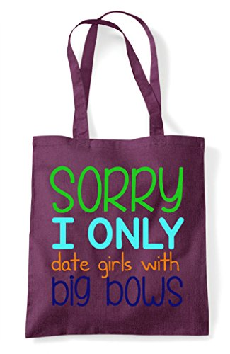 Shopper Bag With I Only Sorry Date Plum Bows Girls Big Tote IWzq8