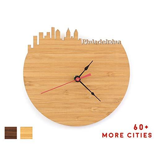MrSong Philadelphia Skyline Clock - Philly Office Desk Accessories - Man Cave Clock (Philadelphia, Cherry Bamboo)