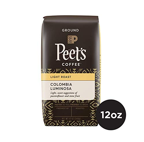 Peet's Coffee Colombia Luminosa Light Roast Ground Coffee, 12 Ounce Bag