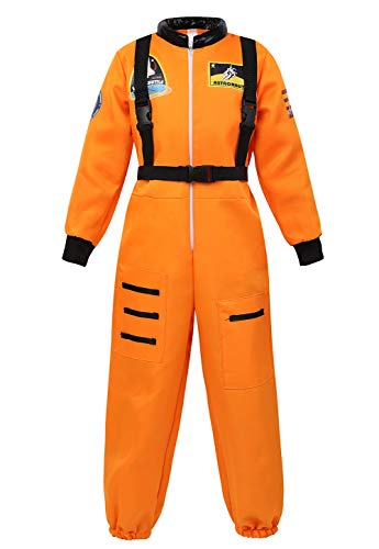 Halloween Astronaut Costume for Kids Role Play Child NASA Flight Jumpsuit Costumes Orange -