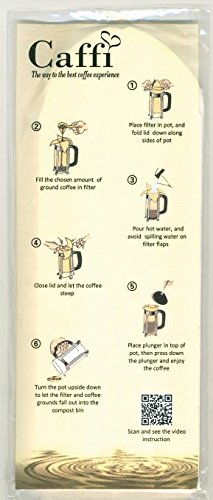 Caffi Paper Coffee Filters for 4 to 8 Cup French Press - 100 Pack by Caffi