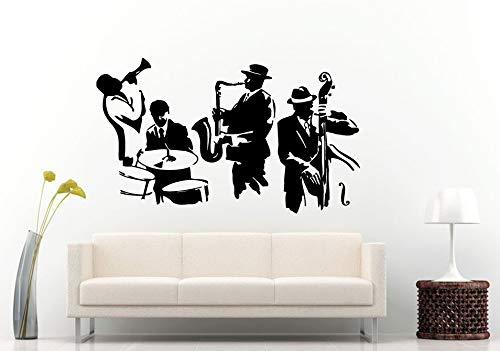 Wall Decals Cute-Jazz Sax Saxophone Instrument Tool Band Musical Genre Man Band Player Drums Bass Wall Decal Vinyl Sticker Mural Room Decor - Made in USA-Fast delivery