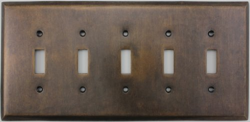 Aged Antique Brass Five Gang Toggle Light Switch Wall Plate