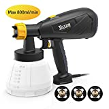 #2: Paint Sprayer 800ml/min, TECCPO 400W-Max12Kp Pressure and 1300ml Detachable Container HVLP Electric Paint Sprayer -3 Pcs Copper Nozzle with Three Spray Patterns, Flow Control for Painting