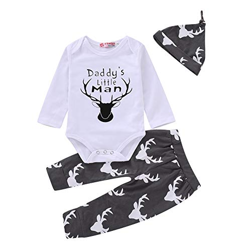 Mikrdoo Toddler Baby Boys Letter Printed Bodysuits Deer Pants Leggings with Hat 3pcs Outfit Clothes (0-6 Months, C)