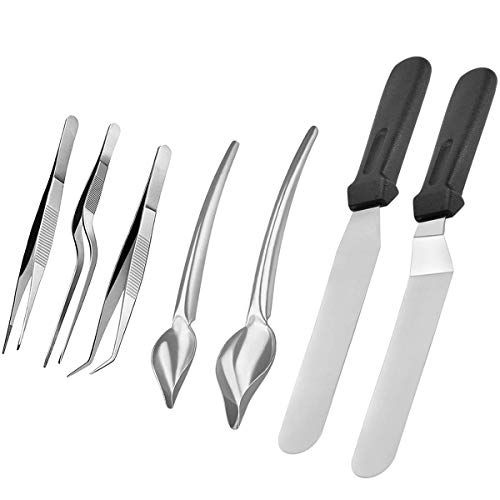 - Gleepin 7 Piece Stainless Steel Culinary Specialty Tools, Multi-use Precision Drawing Decorating Spoons, Cooking Tweezers Precision Tongs, Offset Spatula and Straight Spatula