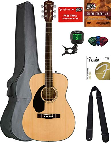 Fender CC-60S Concert Acoustic Guitar – Left Handed, Natural Bundle with Gig Bag, Tuner, Strap, Strings, Picks, Austin Bazaar Instructional DVD, and Polishing Cloth