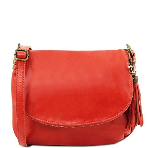 Leather TLBag y Azul Bolso Rojo piel en bandolera oscuro Lipstick con suave Tuscany borla Hd4xH