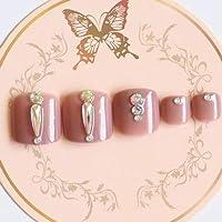 MLZJHH Fake Nails Art Und Weisevollbohrer Handgemachte Runde Zehe Gefälschte Nagelkristallbohrmaschine 24Pcs