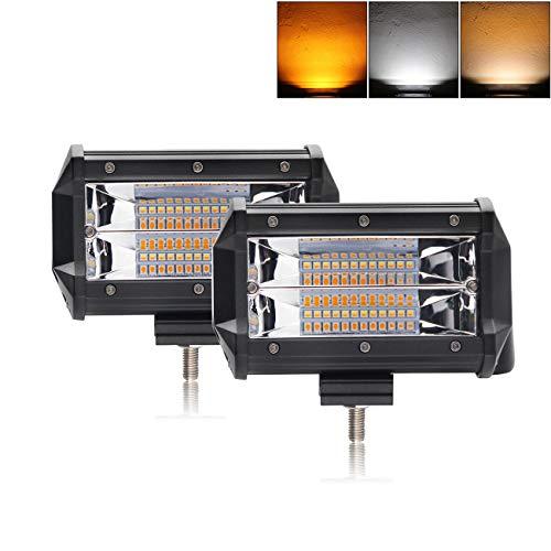 LED Light Bar 5 inch Off-Road lights Dual Color Led Pods Strobe Lights Flash Lights Driving Fog Lights Driving Lamps Yellow White Led Light Bar for SUV ATV Jeep Truck Garden Lighting (9628BS-2)