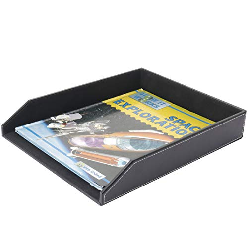 Thipoten PU Leather Stackable Office File Document Tray - Desk File Document Organizer Holder (Black)