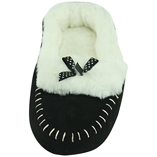 House Shoes Indoor Sole Slippers Black Women's Soft Slip with Forfoot Ballerina Non ZxfX1tw
