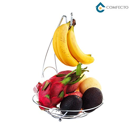 """Christmas Gift Fruit Tree Bowl with Removable Banana Hanger Decorative Fruit Basket 10"""" x 14"""" Large Capacity Fruit Stand Holder for Durable Storage Premium Chrome Brushed Iron Fruit Container"""