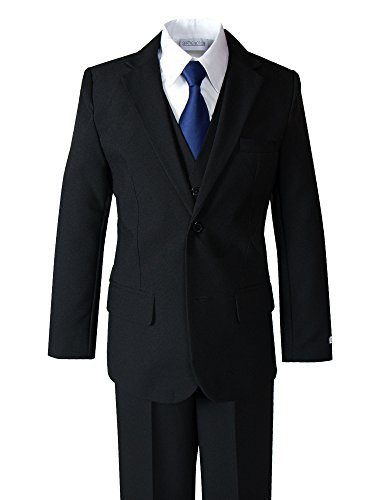 Dress Tie Modern (Spring Notion Big Boys' Modern Fit Dress Suit Set 7 Black w/Navy Tie)