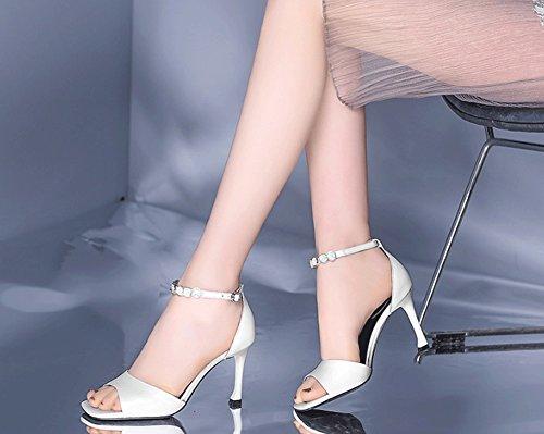 New Europe Sweet Tempérament Élégant Jazs® Strass Sandales Chaussures Sexy Mode Cuir La Talon Carré Véritable À Et Amérique Fashion Haute Style Blanc Mince 65fTPq5w