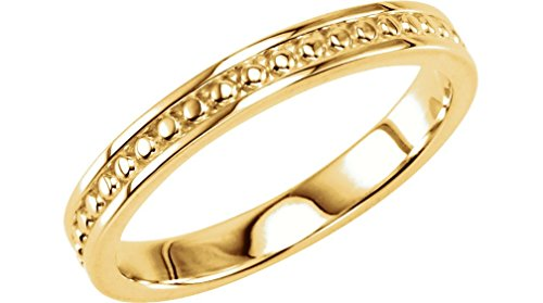Granulated Raised Edge 2.75mm 14k Yellow Gold Stacking Band, Size 6.75 by The Men's Jewelry Store (for HER)