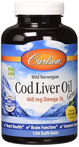 Carlson Cod Liver Oil, Lightly Lemon, 460 mg Omega-3s, Heart & Immune Health, 150 Soft Gels
