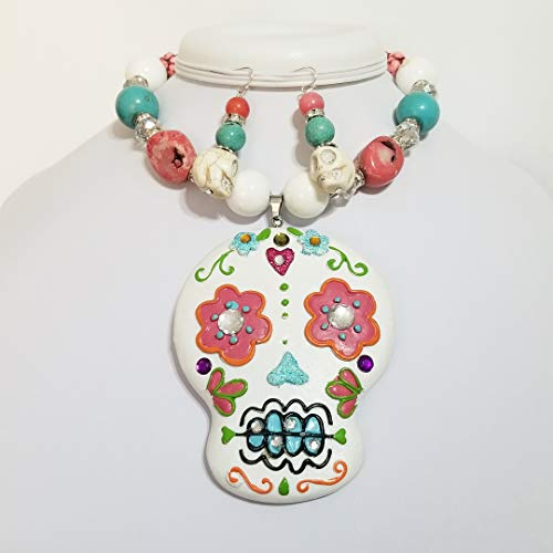 Big Hand Painted Signed Halloween Skull Face Pendant Necklace Earrings Porcelain Gemstone Turquoise Coral One of a Kind