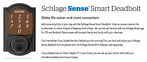 2 Piece Set Schlage Residential Smart Sense Camelot Touchscreen Deadbolt Lock with Built-in Alarm with Latch and Strike (Aged Bronze)