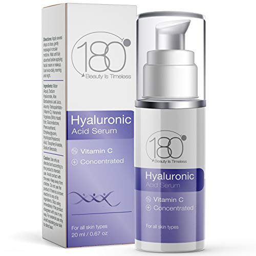 Hyaluronic Acid Serum for Face w. Vitamin C - Ages 30 to 40 - Anti Aging Serum Face Moisturizer & Restorer - Concentrated Face Serum for Smooth Supple Hydrated Skin - 180 Cosmetics