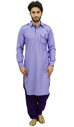 (Atasi Men's Pathani Style Salwaar Kameez Set Purple Punjabi Kurta Shirt-XL)
