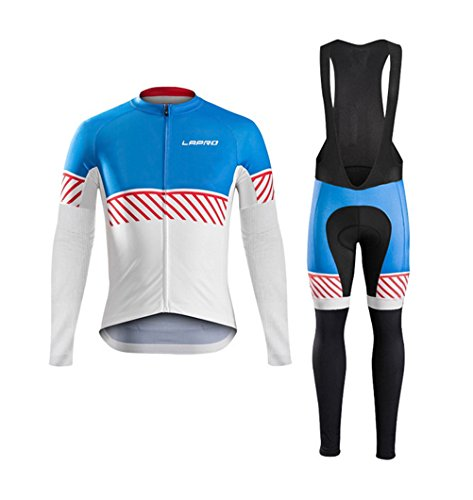 Cyber Monday FHSom Men's Cycling Long Sleeve Zip Fleece Lined With 5D-Padded Breathable Warm Quick Dry Jersey Suit Cloth Winter (Colombia National Costume For Men)
