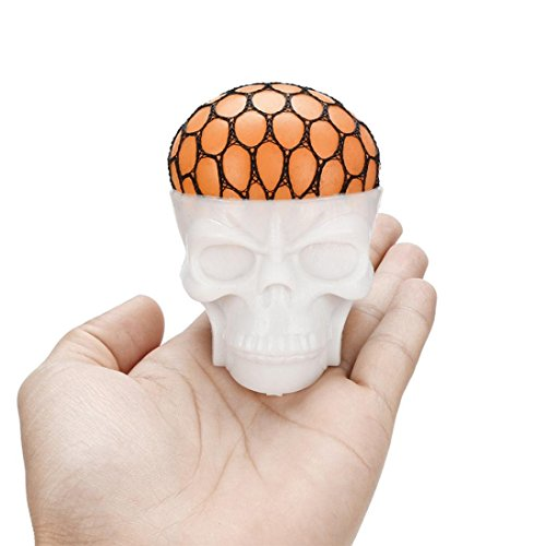 Toy, Botrong Non-toxic Funny Pressure Skull Toy Popping Out Squeeze Toys Stress Reliever Toy (Orange)