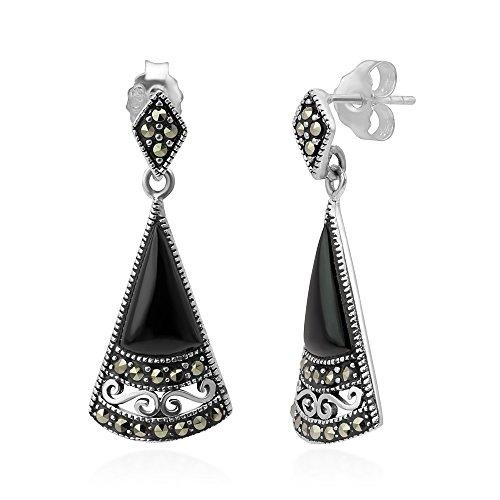Sterling Silver Elegant Natural Black Onyx Marcasite Filigree Fan-Shaped Post Dangle Earrings 1.1