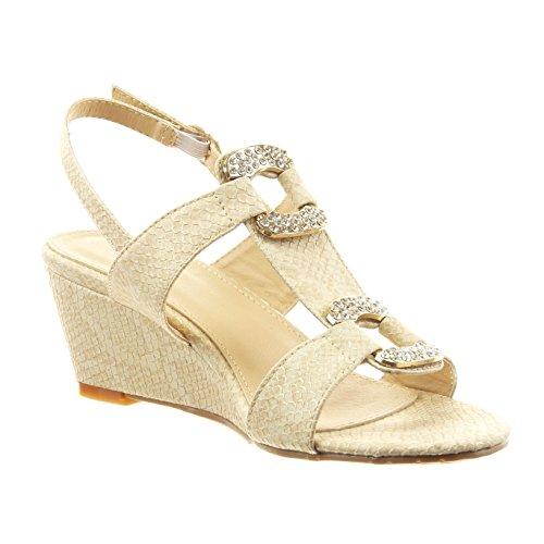 Sopily - Chaussure Mode Sandale ouverte Cheville femmes peau de serpent bijoux strass diamant Talon compensé 6 CM - Intérieur synthétique - Camel