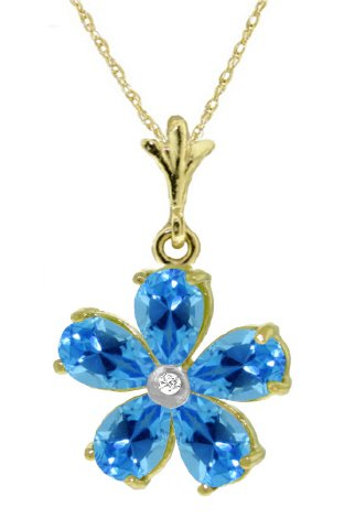 14K Yellow Gold Flower Necklace with Natural pear-shaped Blue Topaz (Topaz Pear Shaped)