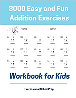 3000 Easy and Fun Addition Exercises Workbook for Kids ...