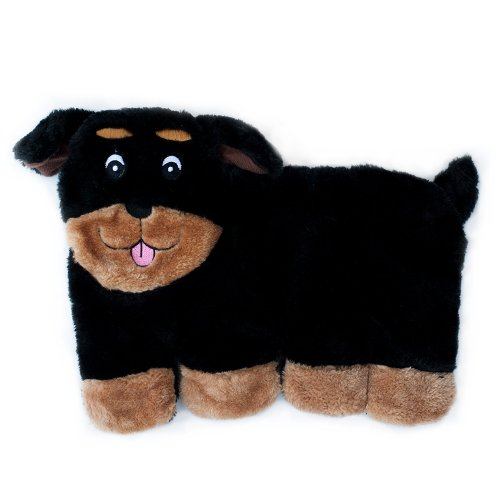 - ZippyPaws - Squeakie Pup No-Stuffing Plush Dog Toy, 11 Squeakers - Rottweiler