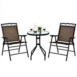 Garden and Outdoor Giantex Patio Dining Set Round Glass Table with 2 Patio Folding Chairs, Outdoor Table and Chairs for Garden, Pool…