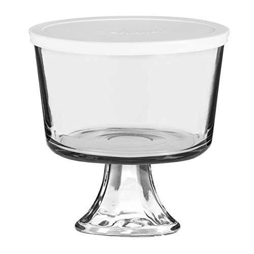 Anchor Hocking Presence Glass Footed 3.25 Quart Trifle Bowl with Lid