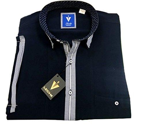 Leché Designerhemd in Marieneblau mit Weiß-Blau gestreifter Knopfleiste