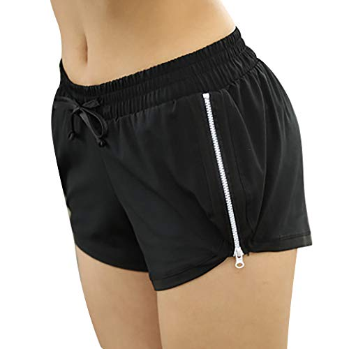 SPORTTIN Tummy Control Tie Front Zip Dophin Shorts