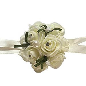 Henglizh Wedding Bridal Bridesmaid Flores Artificiales Wrist Flower Wrist Corsage Flowers Home Decoration Pack of 2 117